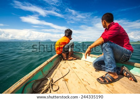 view in front of the boat when the boat sailed to an island - stock photo