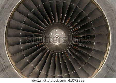 view inside a huge airplane turbine