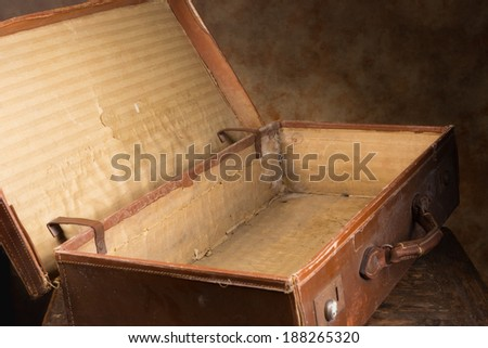 View inside a very old brown antique suitcase