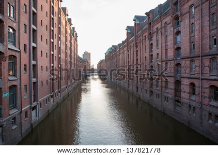 View into a channel at the Speicherstadt, historic warehouse district at Hamburg harbor