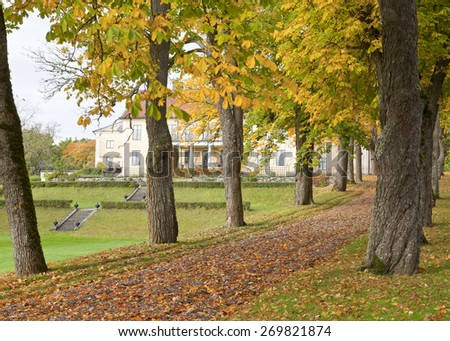 View into a garden park and a yellow building. Green lawn and and some mist in the air. Alley, walkway this side. - stock photo