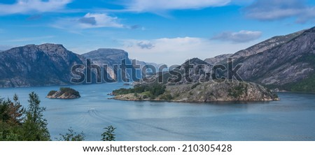 View into beautiful and majestic Lysefjord, Norway - stock photo
