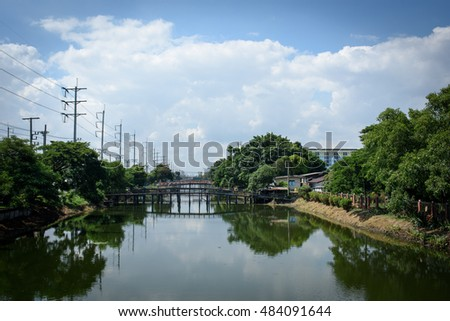 View landscape canal  in Thailand.