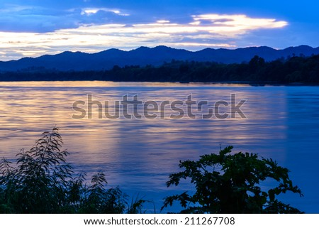 View landscape sunset Mekong River in  Chiang Khan, loie Thailand