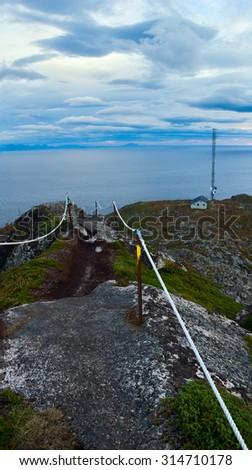 View Lofoten Islands in Norway - stock photo