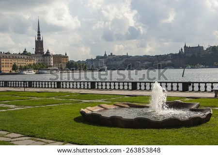 View looking towards Gamla Stan from Stockholm City Hall - stock photo