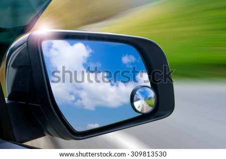 View mirror on the side of the device allows the driver to safety. - stock photo