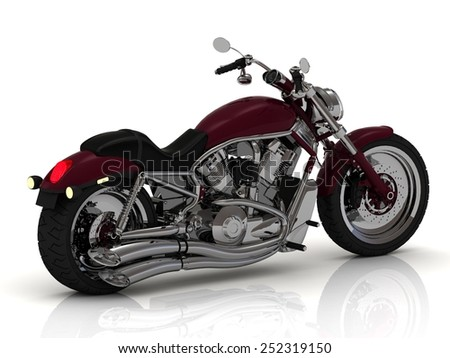 view Motorcycle and chrome engine and exhaust on white background.