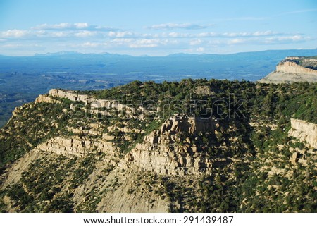 View north from Geologic Overlook across Montezuma Valley to the San Juan Mountains in Mesa Verde National Park, CO, USA