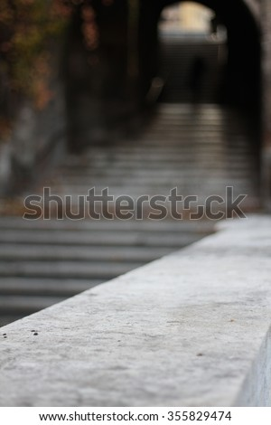 View of a ancient staircase passage of Middle Ages in Rome, Italy - stock photo