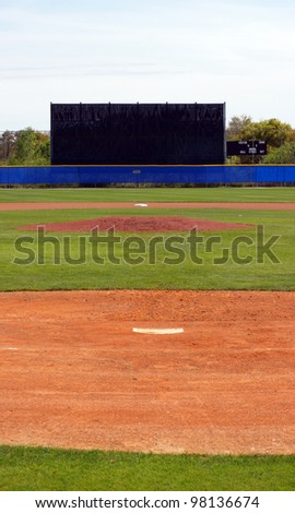 View of a baseball diamond from home plate to the outfield