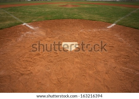 View of a Baseball Field from Home Plate - stock photo