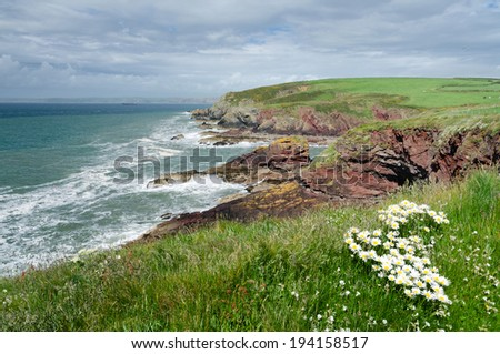 View of a beach photographed during hiking along the Pembrokeshire Coast Path,  Pembrokeshire, Wales, UK