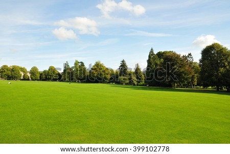View of a Beautiful Spacious Leafy Green Park - stock photo