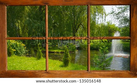 View of a beautiful summer pond with ducks, seen through an old grunge country window. Part of a series.   This image is also available in my portfolio, without the window frame. - stock photo
