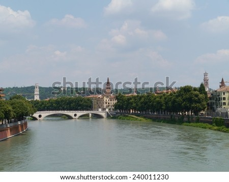 View of a bridge over the Adige river in Verona in Italy