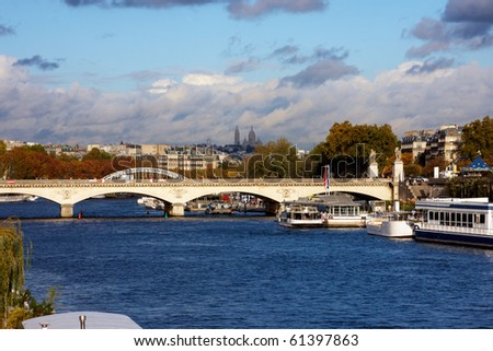 View of a bridge over the Seine river in Paris - stock photo