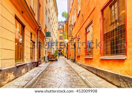 View of a charming street in Stockholm, Sweden