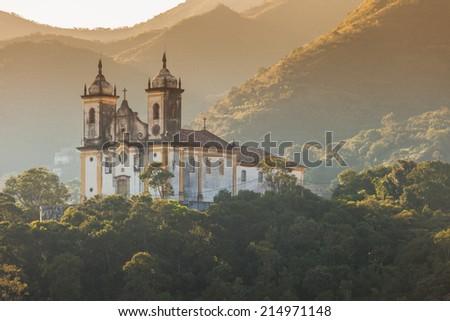 View of a church of ouro preto in minas gerais brazil  - stock photo