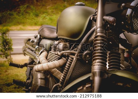 View of a classic motorcycle of adventure - stock photo