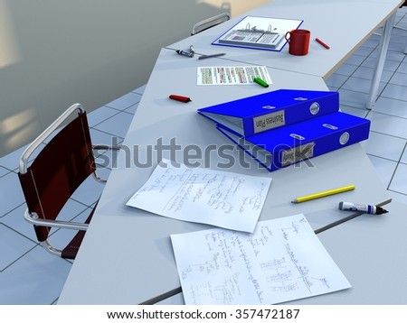 View of a conference room table with a chair, ring binders, felt tip markers, pencils, handwritten notes and other documents, as well as a coup of coffee