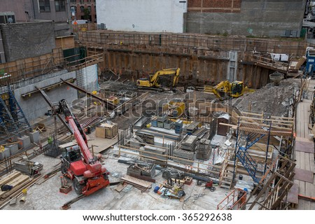 View of a construction site in New York City, USA. - stock photo