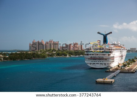 View of a cruise ship in Nassau, Bahamas. - stock photo