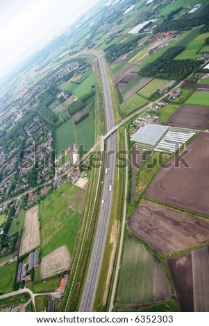 View of a Dutch high way from a balloon