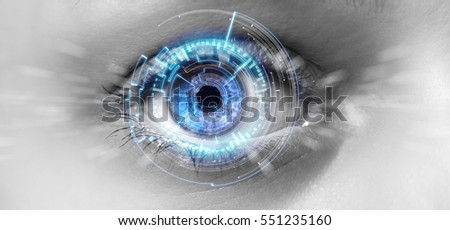 View of a Eye of a woman with digital interface in front of it
