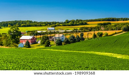 View of a farm in rural York County, Pennsylvania. - stock photo