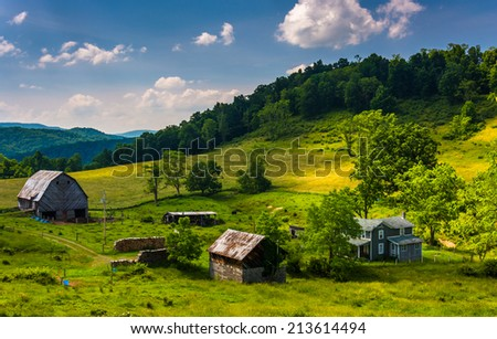 View of a farm in the rural Potomac Highlands of West Virginia. - stock photo