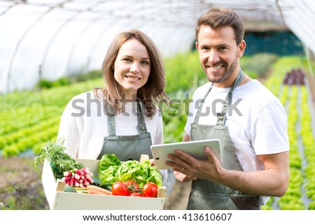 View of a Farmers working on a tablet after collecting vegetables