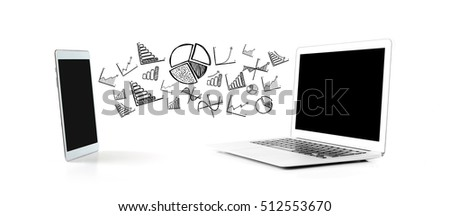 View of a Financial and business icon connection beetween a tablet and a tablet