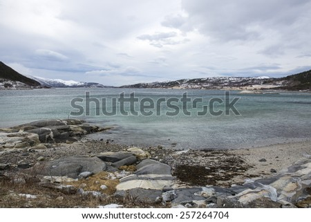 view of a Fjord in the winter wind, Elvfjorden Nordland Norway