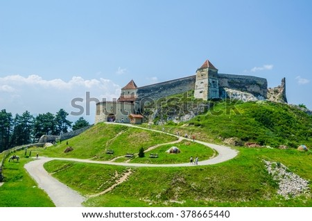view of a fortress in romanian city rasnov which is popular tourist destination for people from neighboring brasov.