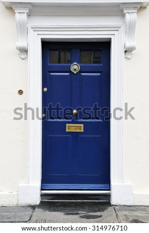 View of a Front Door of a Georgian Era English Town House - stock photo