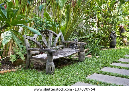 view of a garden bench vintage,Thai style - stock photo