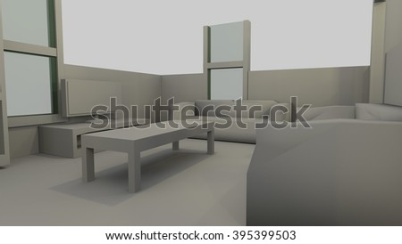 View of a generic living room in a 3D rendered low poly Image illustration