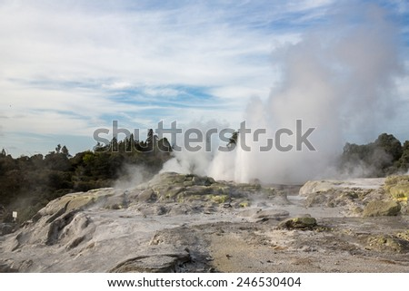 View of a geyser active area in Rotorua, New Zealand. - stock photo