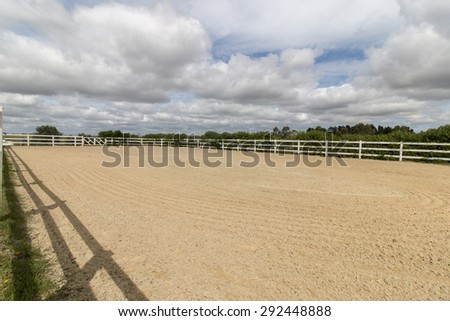 View of a horse arena (picadero) used for training and relaxation. - stock photo