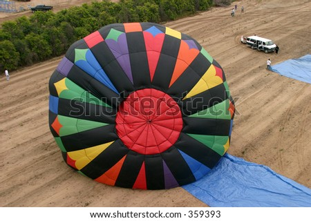 view of a Hot Air Balloon being inflated from the air