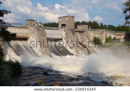 View of a hydroelectric power station dam in Imatra, Finland  - stock photo