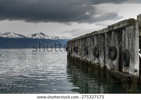 View of a jetty at lake, Golfo Almirante Montt, Puerto Natales, Patagonia, Chile