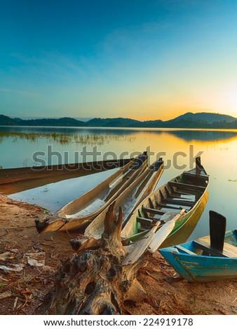 View of a Lak lake at sunrise - stock photo