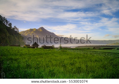 View of a lake and mountain in Bali Indonesia