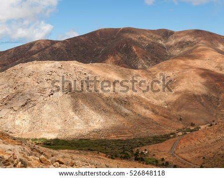 view of a landscape of Fuerteventura from Lookout Risco de las Penas, Canary Islands,