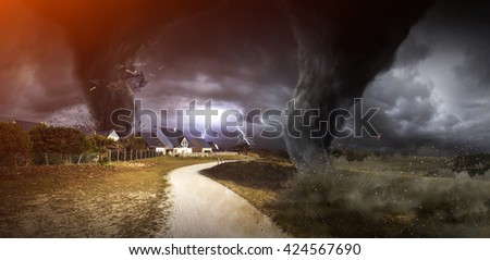 View of a large tornado destroying the landscape '3D rendering' - stock photo
