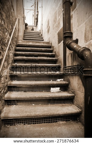 View of a Long Flight of Steps through an Alleyway - stock photo