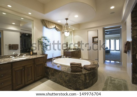 View of a modern and spacious bathroom at home - stock photo