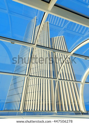 View of a modern building in the window.3d render - stock photo